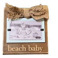 Mudpie Beach Baby Frame Burlap Ribbon Wood Wall Hanging Picture Frame