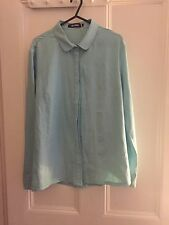 MISSGUIDED SIZE 10 BABY BLUE LONG SLEEVE CREPE SHIRT