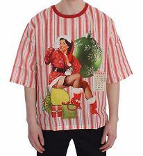 NEW $380 DOLCE & GABBANA T-shirt Crewneck DICEMBRE Motive Print Linen IT52 / XL