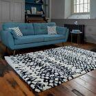 Cream Black Berber Rugs Tribal Moroccan Scandi Style Carpet Rugs Soft Shaggy Mat