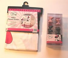 Disney Minnie Mouse Pink & Black Ooh La La Fabric Shower Curtain & Bow Hooks Set