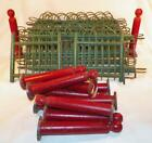 Vintage Christmas Fence Putz Feather Tree Wood Wicker Metal Red Green A W Drake