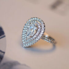 Real 1.15Ct Diamond Wedding 14K White Gold Pear Shape Ring