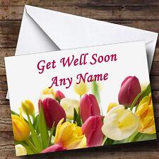 Tulips Personalised Get Well Soon Greetings Card