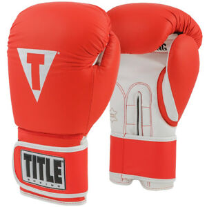 Title Boxing Pro Style 3.0 Hook and Loop Leather Training Gloves - Red/White