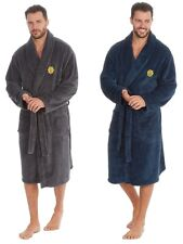 Mens Long Sleeve Luxury Super Soft Feel Fleece Dressing Gown Robe Navy Blue M L