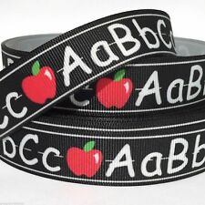 "Grosgrain Ribbon 5/8"", 7/8"", 1.5"", 3"" Abc with Apple Back to School Bh1 Printed"