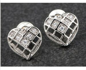 EquilibriumPlatinum Plated Mesh Heart Stud clear stone Earrings silver Gift Box