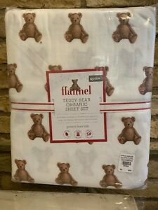Pottery Barn Kids Teddy Bear Organic Flannel Queen Size Sheet Set Christmas New