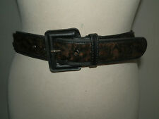 VINTAGE 1980'S COUNTRY CASUALS LEATHER AND FAUX FUR ANIMAL SKIN PRINT BELT 12/14
