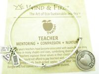 Wind and Fire Teacher Charm Silver Wire Bangle Stackable Bracelet USA Gift