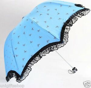 Bow Dots Fashion Umbrella with Lace Chiffons, Folding Umbrella, Multi-Color