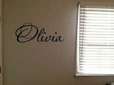 Custom Olivia Girls Room Name Nursery Baby Kids Pretty Vinyl Wall Quote Sticker