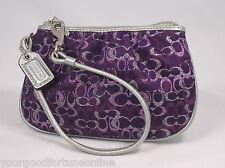New Coach Signature Lurex Pink/Silver/Gold/Black/Purple Wristlet/Clutch 43363