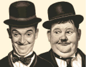 LAUREL & HARDY ~ complete counted cross stitch kit  *Jann Designs