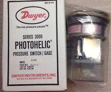"Dwyer A3100 Photohelic Pressure Switch Gage 0-100"" Water 120V 5W Rack C #C10"