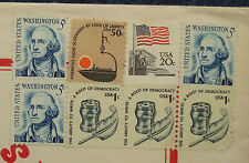 lot USA postage stamp Americas Light sustained 50¢ Washingon 5¢ USA flag 20¢ roo
