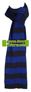 Criminal Men's Blue & Charcoal Grey Striped Ribbed Designer Scarf  RRP £19 - NEW