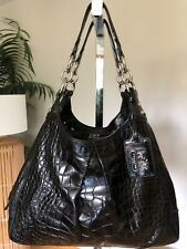 COACH MADISON MAGGIE Black Croc Leather Satchel Doctor Carryall Bag F1468 GREAT
