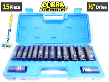 "15 Pc 1/2"" Inch Deep Impact Socket Tool Set 10-32mm Metric Garage Workshop CT456"