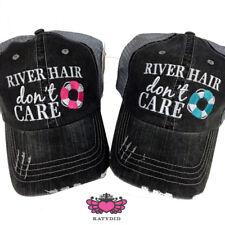 "BASEBALL CAP- TRUCKER CAP - ""RIVER HAIR DON'T CARE (PINK FLOATY)""  HAT -MESH HAT"