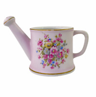 Vintage Lefton China 283 Hand Painted Pink Flowers Watering Can Planter