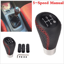 5Speed Leather Black Red Line Universal Manual Car Gear Stick Shift Knob Shifter