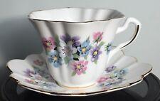 Vintage LEFTON Bone China porcelain ENGLAND anemone pastel floral w/ gold trim