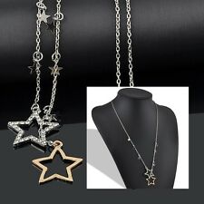 Womens Modern Silver Gold Crystal Rhinestone Stars Pendant Long Chain Necklace F