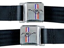 New! Black Seat Belt Deluxe Mustang w/ Running Horse Emblem Logo Pair w/ Bolts