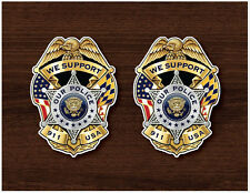 2X Support Our Police Badge Window Sticker Decal Vinyl - Free Shipping - 005