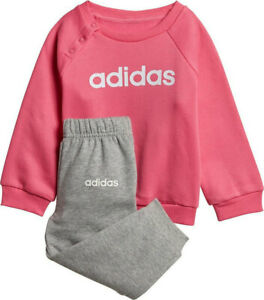 Girls Adidas Jogger Set in Pink with Grey trouser
