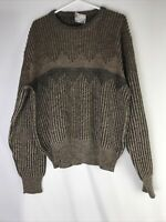 Vintage 90s London Fog Mens XL Brown Sweater Geometric Coogi Style Cosby