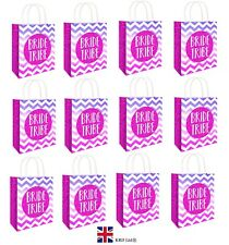 12 x BRIDE TRIBE HEN PARTY BAGS Printed Paper Wedding Gift Bag Hen Do Night UK