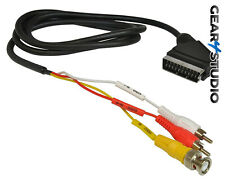 SCART to BNC Input & Twin x RCA/ Phono Audio Video Cable Lead CCTV