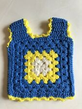 Vintage Hippie Handmade Blue Yellow Crocheted Granny Square Toddler Top Vest 2T