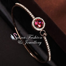 18K Gold Plated Made With Swarovski Crystal Round Side Stones Ruby Halo Bangle