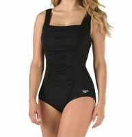 Speedo Women's Side Shirred Tank Plus One Piece Swimsuit Black 7234014 Size 24
