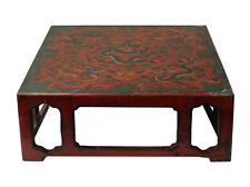 Chinese Golden Brown Dragons Scenery Red Lacquer Square Display Stand cs3347