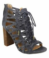 Not Rated Women's Jacey Cutout Zip Heeled Navy Blue Sandals US Size 7.5 NWOB