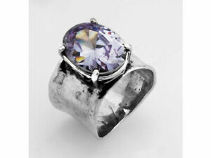 New SHABLOOL Ring 925 Sterling Silver Lilac Lavender Color Jewelry Lady