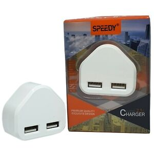 Fast Dual 2 Port USB Charger 3 Pin UK Mains Wall Plug Adapter 1 port charger