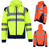 Mens Hi Viz Vis Visibility Hooded Reflective Work Zip Fleece Sweatshirt Jacket