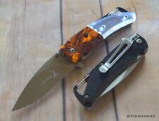 ELK RIDGE ORANGE CAMO SPRING ASSISTED KNIFE WITH LED LIGHT ON HANDLE