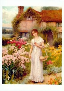 Art Print Victorian Cottage Lady Gown Bonnet WALK IN GARDEN Pick Flowers