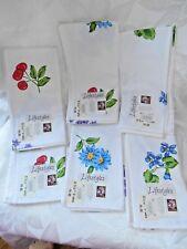"Lot of 6 Bardwil Lifestyles 19"" Fruit & Flowers Cotton Napkins NWT"