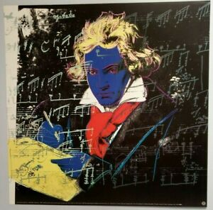 RARE Andy Warhol Beethoven Blue 1992 Offset Poster Yellow Book 23 x 23 BRAND NEW