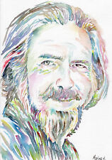 Alan Watts - Original watercolor aquarelle portrait painting by Marina Sotiriou