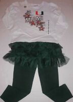 University of Miami 2 pc GIrl's Outfit Top & Leggings Tutu Skirt sz S 4T NEW
