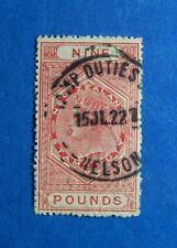 1882 9L NEW ZEALAND STAMP DUTY REVENUE BAREFOOT# 263 USED                CS33238